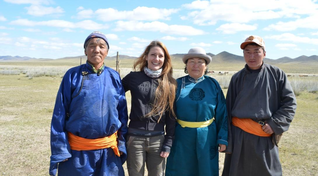 A nomad host family with the Projects Abroad volunteer living with them on her cultural immersion programme abroad.